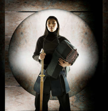 adventuresome: Portrait of a young woman in fencing gear