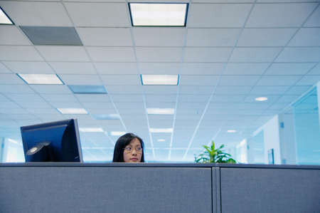 bulkhead: Businesswoman looking over a partition in an office