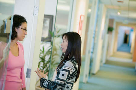 two persons only: Two businesswomen talking to each other in an office
