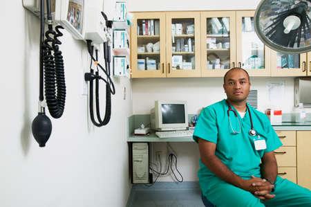 Portrait of male doctor wearing scrubs