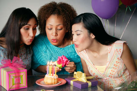 living beings: Young women celebrating a birthday
