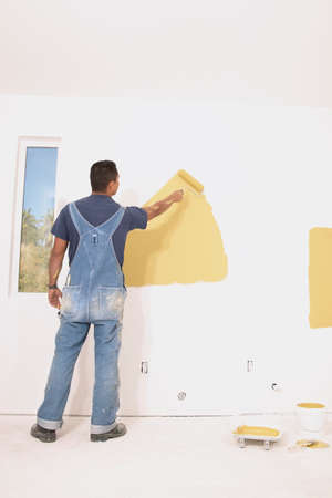 recourse: Rear view of a man painting a wall with a paint roller