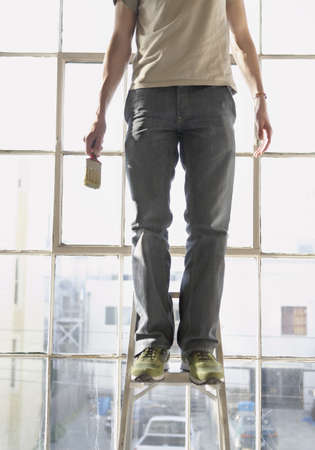 step ladder: Mid section view of a young man standing on a step ladder and holding a paintbrush LANG_EVOIMAGES