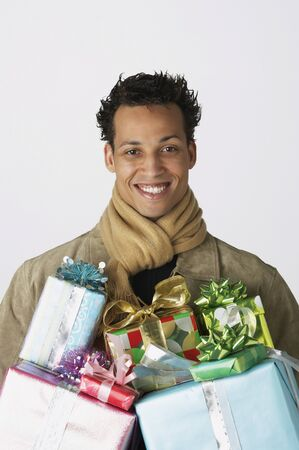 french ethnicity: Portrait of young man with gifts