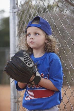 sideline: Girl with baseball mitt on sideline