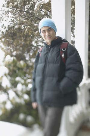 Teenage boy on a winter day
