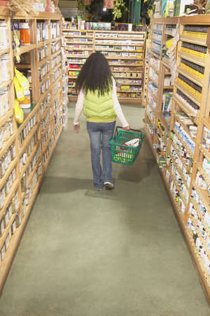 jamaican adult: Rear view of a mid adult woman in a supermarket LANG_EVOIMAGES