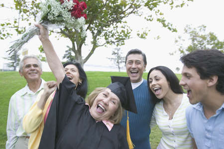 above 18: Graduate mother cheering her success