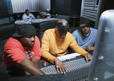 hip hop pose: Musicians working on their music