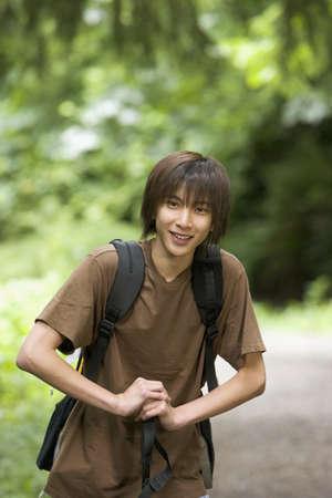some under 18: Portrait of boy hiking