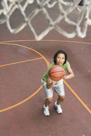 some under 18: Teenage girl shooting hoops LANG_EVOIMAGES