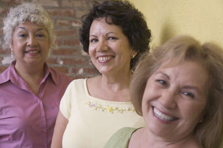 above 30: Portrait of three woman smiling