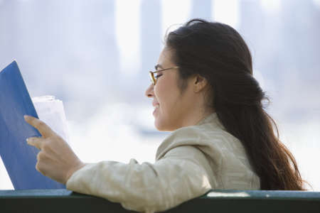 mid afternoon: Profile of businesswoman reading papers LANG_EVOIMAGES