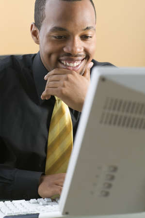 above 21: Businessman looking at computer screen while smiling