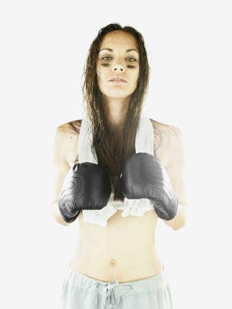 bathtowel: Female boxer threatening the camera