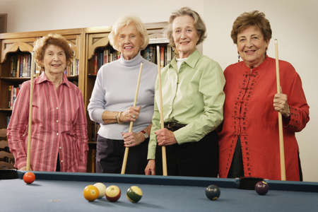 ninetys: Elderly women shooting pool