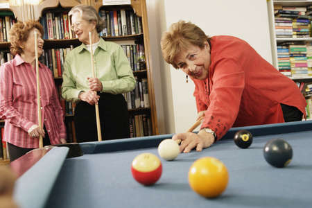 ninetys: Elderly woman shooting pool