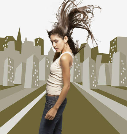 ostentatious: Woman dancing against city background
