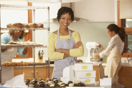 bakery store: Portrait of woman employees at bakery