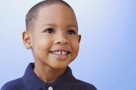 above 30: Close up of African American boy smiling