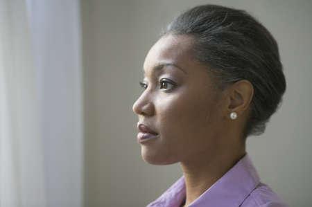 profil: Zamknij się profil African American kobieta