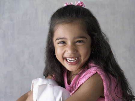 only one girl: Portrait of young girl smiling