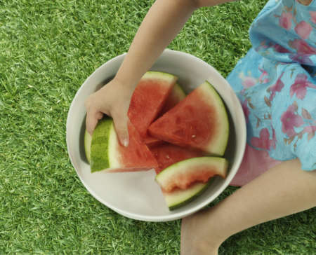 lower section view: Young girl holding a bowl of watermelon