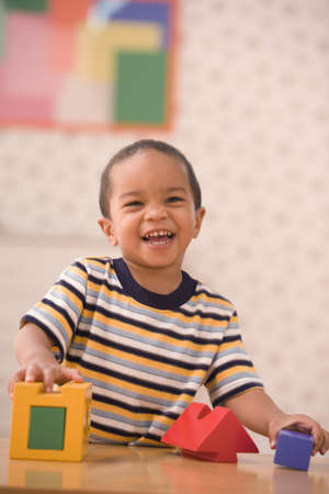 casualness: Portrait of young boy playing with blocks LANG_EVOIMAGES