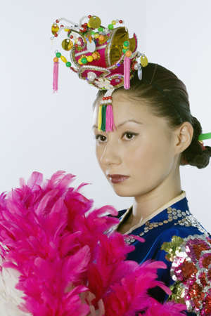 dressing up costume: Young Asian woman in traditional dress