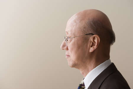 man profile: Profile view of a mature man