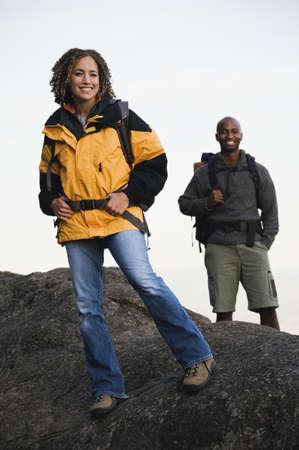 adventuresome: Couple hiking on rocky terrain