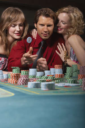 successfully: Man successfully gambling in a casino