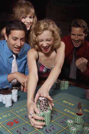 successfully: Woman successfully gambling in a casino