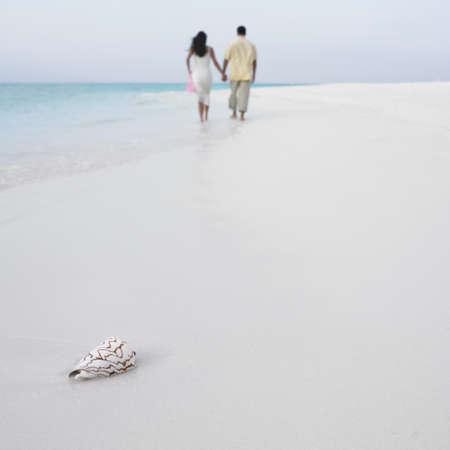 honeymooner: Couple holding hands on the beach