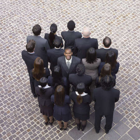 distinctive: High angle view of large group of businesspeople