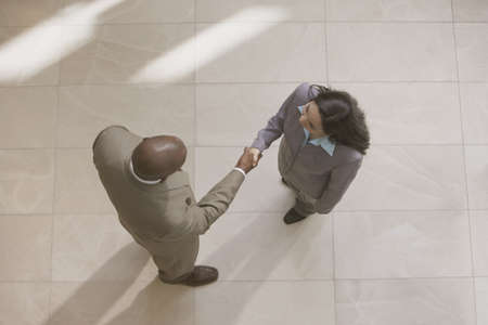 north western european descent: High angle view of businessman and businesswoman shaking hands LANG_EVOIMAGES