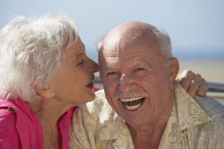 Close up of senior couple laughing