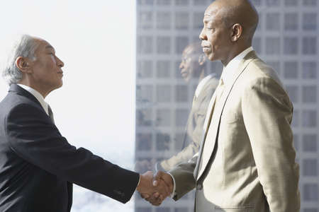 north western european descent: Two businessmen shaking hands in front of window, Los Angeles, California, United States
