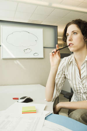 dry erase: Businesswoman thinking near dry erase board with empty thought bubble on it, Redwood City, California, United States