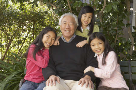 san rafael: Asian grandfather with granddaughters outdoors, San Rafael, California, United States