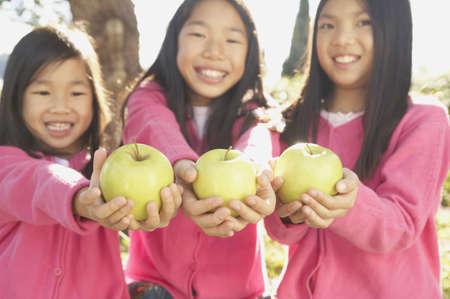 san rafael: Three young Asian sisters holding green apples, San Rafael, California, United States