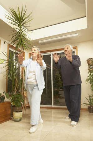 san rafael: Senior Asian couple doing Tai Chi indoors, San Rafael, California, United States