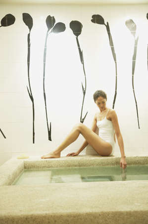ostentatious: Woman relaxing in spa room