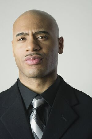 motioning: Close up of African American businessman