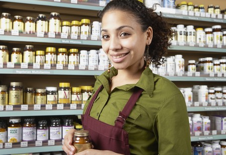 health food store: Saleswoman in health food store