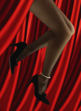 north western european descent: Womanís legs with stockings and jewelry