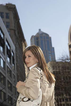 urban scene: Hispanic woman in urban scene