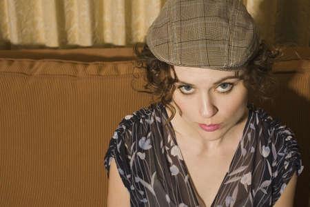 帽子をかぶっている女性のハイアングル 写真素材