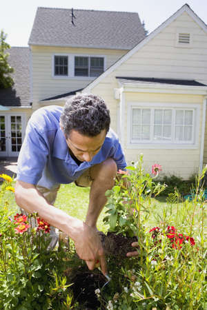 mill valley: Man planting flowers in yard