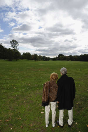 longshot: Rear view of senior couple looking out over open meadow